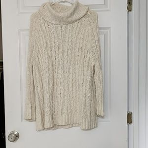 Free People cream knit sweater with open back